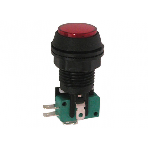 "12V LIGHTED PUSHBUTTON, 1"" RED LENS"