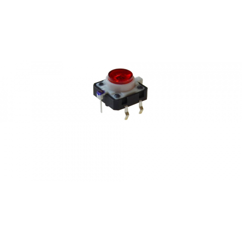 RED LED LIGHTED TACTILE MOMENTARY PUSHBUTTON