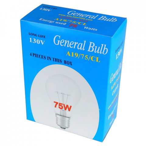 75 WATT LIGHT BULB, BOX OF 4