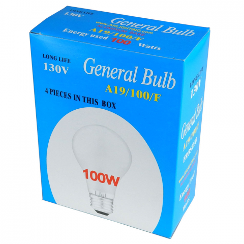 100 WATT LIGHT BULB, BOX OF 4