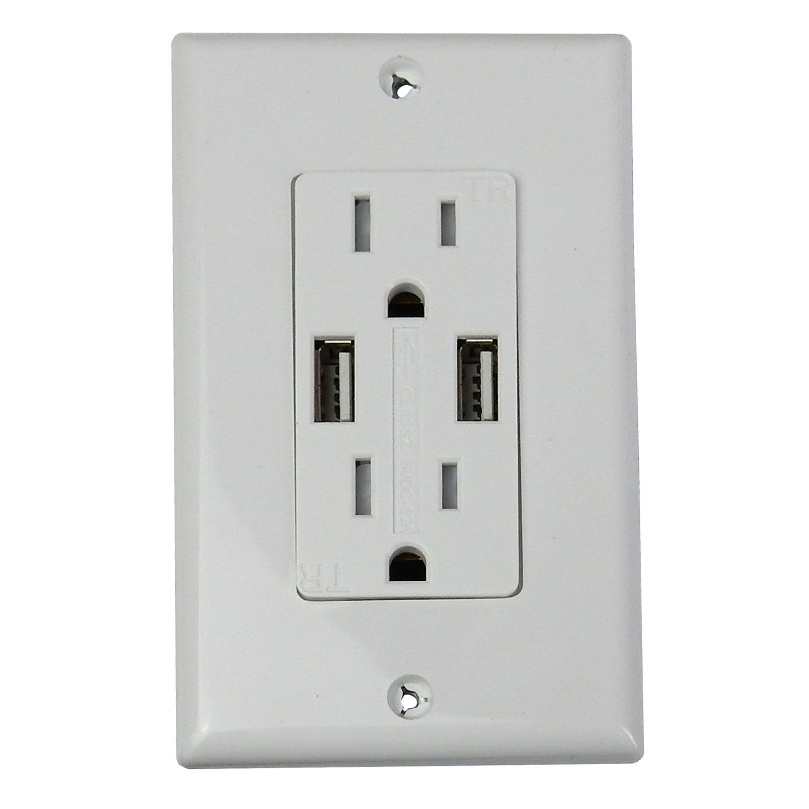 DUPLEX RECEPTACLE WITH 4.2A USB PORTS, WHITE