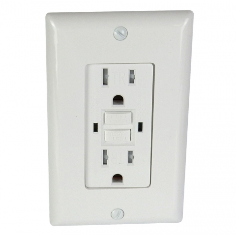 15A SELF-TEST GFCI DUPLEX OUTLET, WHITE