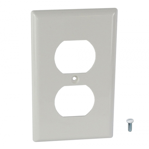 WALL PLATE FOR DUPLEX RECEPTALE, WHITE