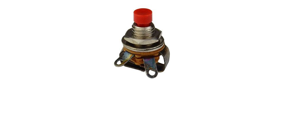 SPST MOMENTARY PUSHBUTTON, RED BUTTON