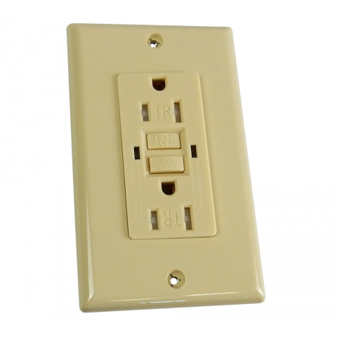 15A SELF-TEST GFCI DUPLEX OUTLET, IVORY