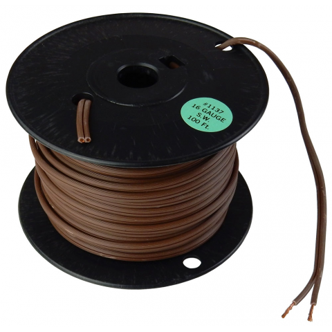 16/2 BROWN ZIP CORD, 100' ROLL