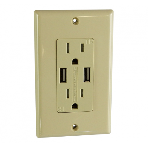 DUPLEX RECEPTACLE WITH 4.2A USB PORTS, IVORY