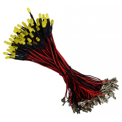 12V YELLOW LEDS W/ LEADS, 100 PIECES