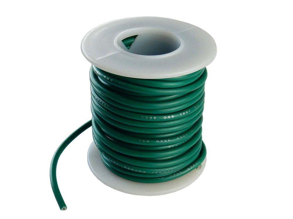 14 GA STRANDED GREEN HOOK UP WIRE, 25'