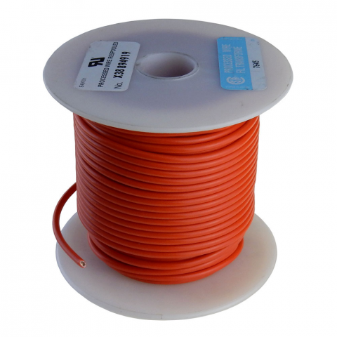 16 GA ORANGE HOOK UP WIRE, STRANDED, 100'