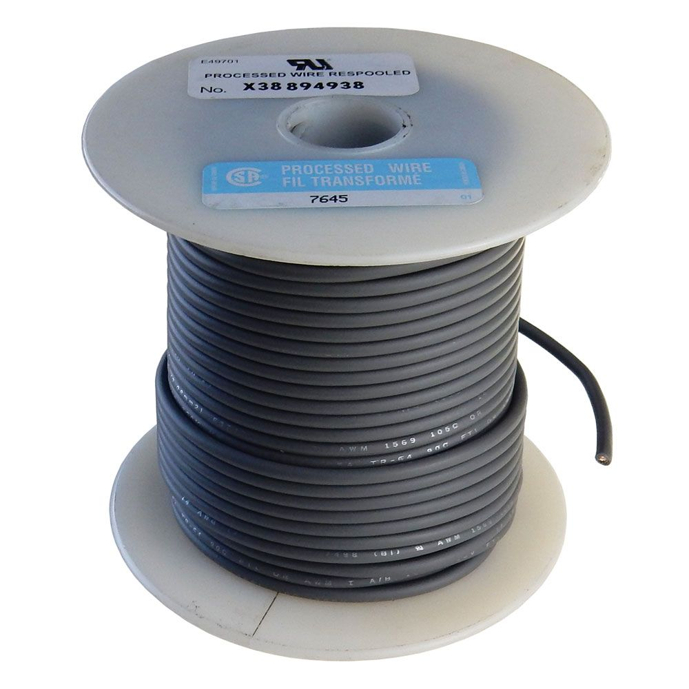 14 GA STRANDED GRAY HOOK UP WIRE, 100'