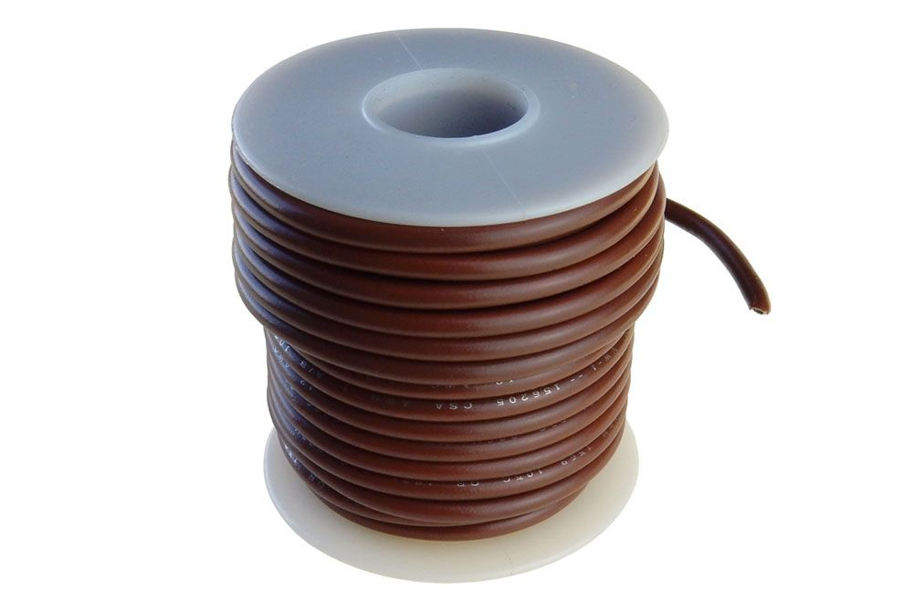 12 GA STRANDED BROWN WIRE, 25'