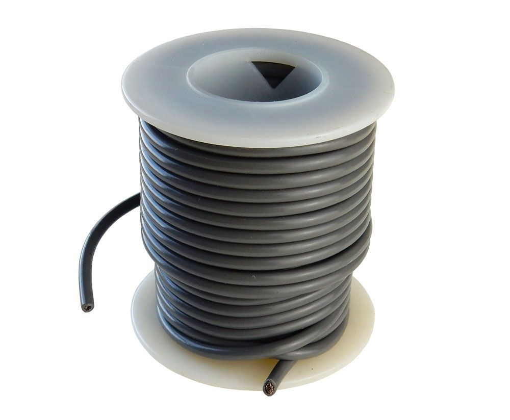 14 GA STRANDED GRAY HOOK UP WIRE, 25'