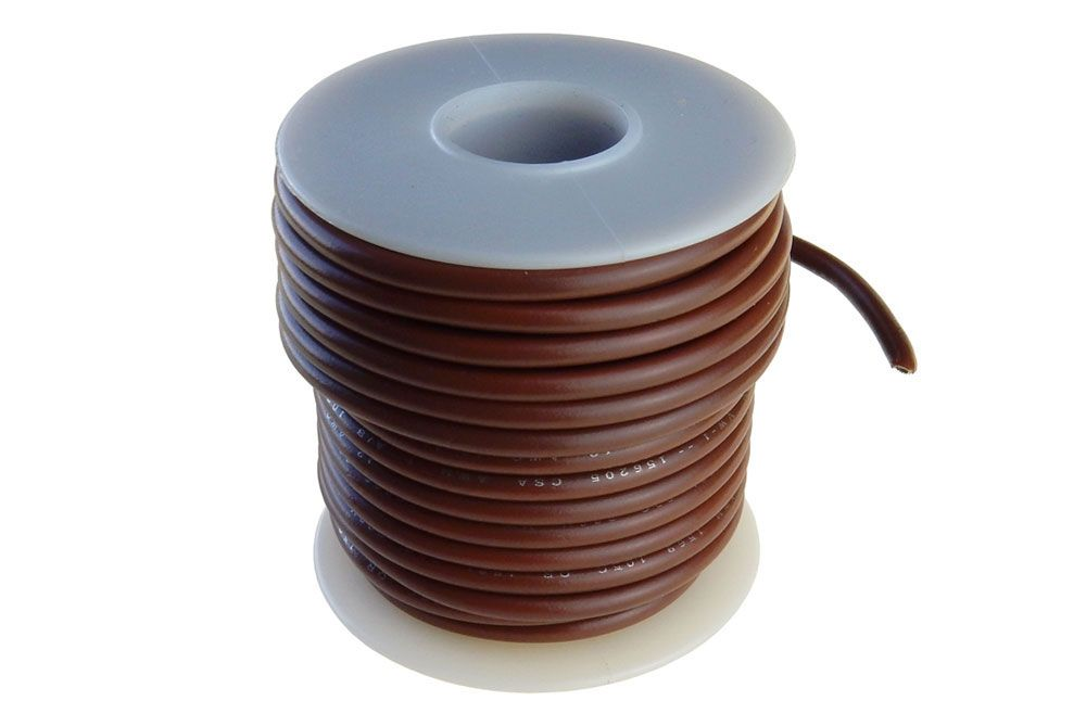 16 GA STRANDED BROWN HOOK UP WIRE, 25'
