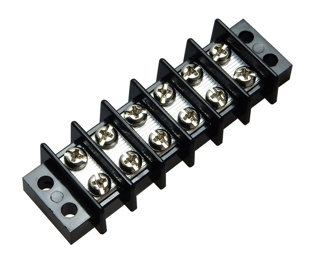 DUAL-ROW BARRIER STRIP, 25A, 6-CIRCUIT