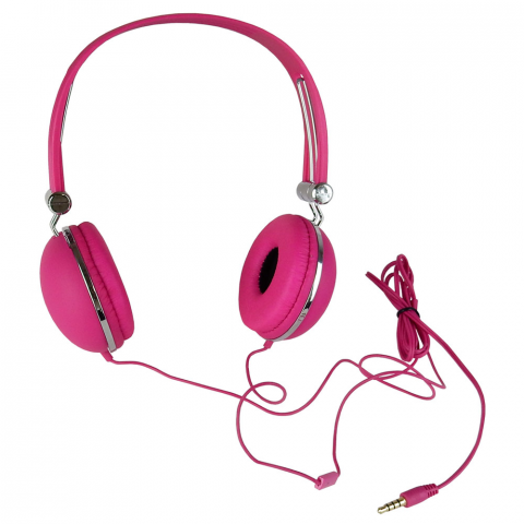 STEREO HEADPHONES W/ IN-LINE MIC, PINK
