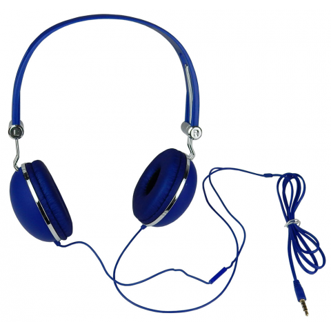 STEREO HEADPHONES W/ IN-LINE MIC, BLUE