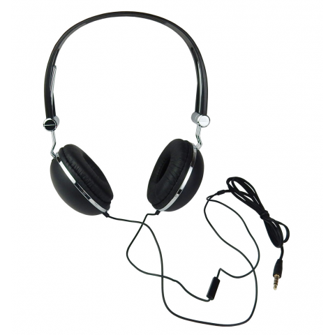 STEREO HEADPHONES W/ IN-LINE MIC, BLACK