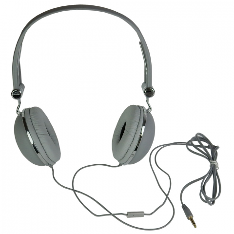 STEREO HEADPHONES W/ IN-LINE MIC, GREY