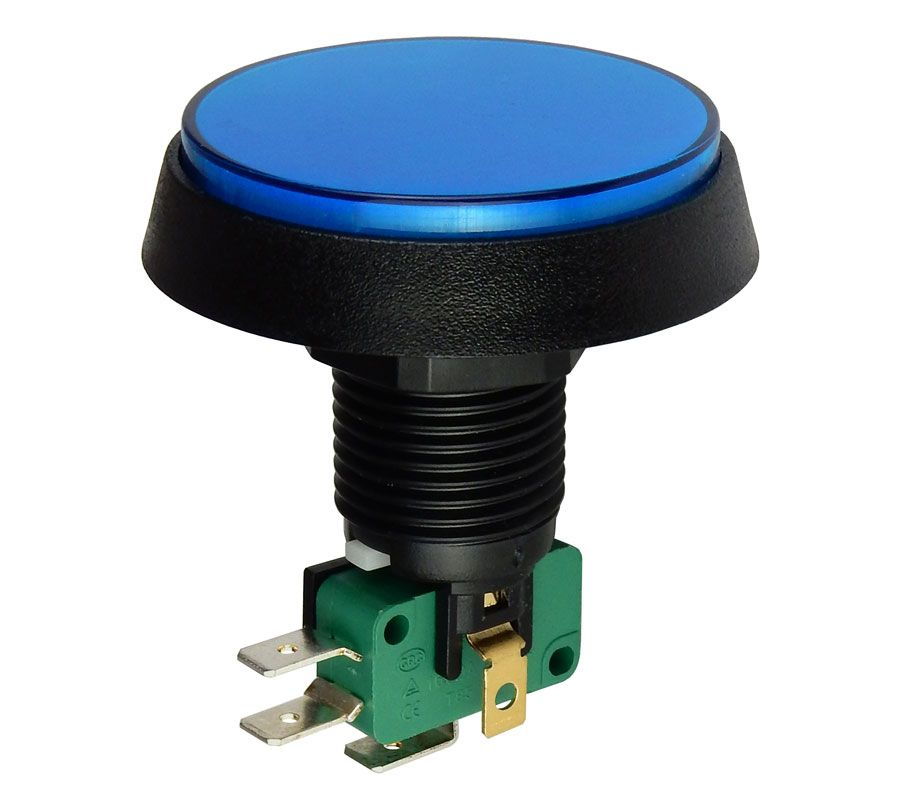 "12V LIGHTED PUSHBUTTON, BLUE 2"" LENS"