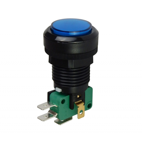 "12V LIGHTED PUSHBUTTON, 1"" BLUE LENS"
