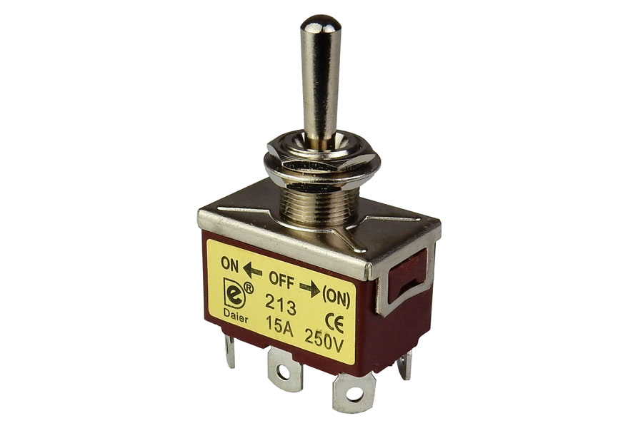 DPDT (ON)-OFF-ON 15A TOGGLE SWITCH, MONENTARY