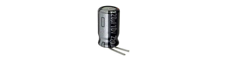 220 UF 10V 105C ELECTROLYTIC CAPACITOR, BENT LEADS