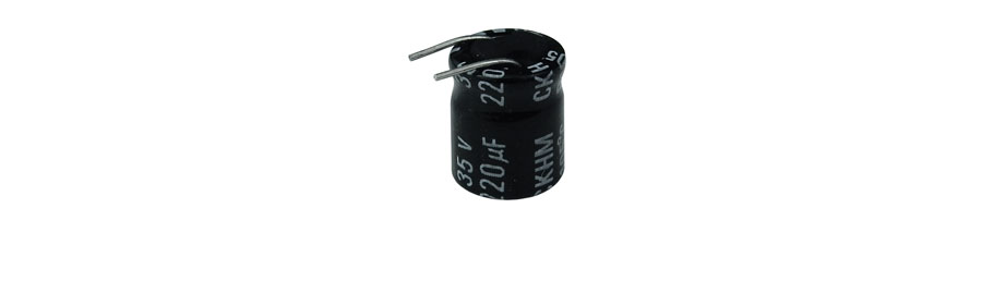 220 UF 35V 105C ELECTROLYTIC CAPACITOR, BENT LEADS