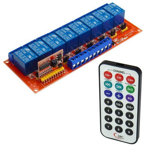 8-CHANNEL IR REMOTE RELAY MODULE, 12 VDC