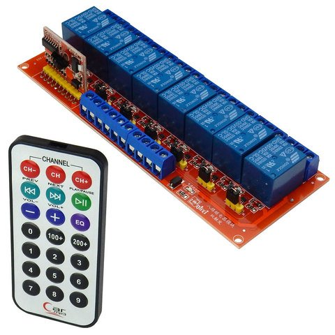 8-CHANNEL IR REMOTE RELAY MODULE, 5VDC