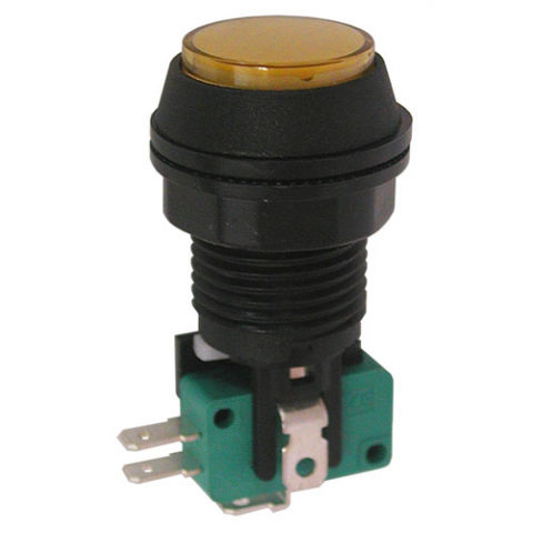 "12V LIGHTED PUSHBUTTON, 1"" AMBER LENS"