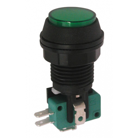 "12V LIGHTED PUSHBUTTON, 1"" GREEN LENS"