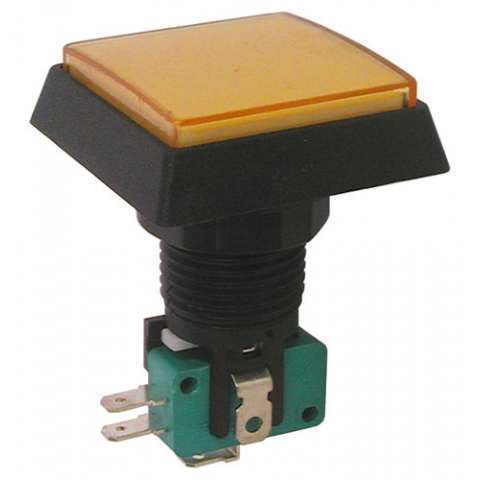 "12V LIGHTED PUSHBUTTON, AMBER 1.5"" SQUARE"