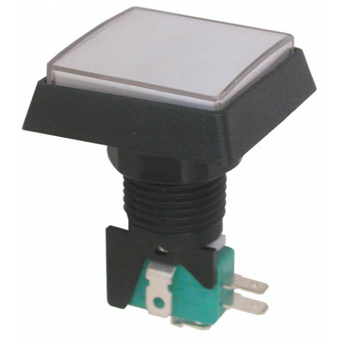 "12V LIGHTED PUSHBUTTON, WHITE 1.5"" SQUARE"
