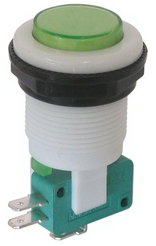 SPDT MOMENTARY PUSHBUTTON, GREEN BUTTON