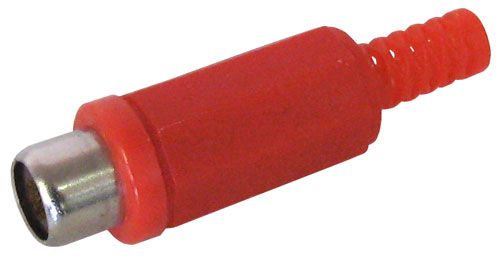 IN-LINE RED PLASTIC RCA JACK